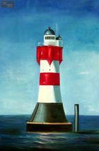 "MODERN ART - THE RED & WHITE LIGHT HOUSE  24X36 ""  OIL PAINTING 001"