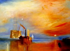 "WILLIAM TURNER - THE FIGHTING TEMERAIRE  32X44 "" OIL PAINTING REPRODUCTION – image 2"