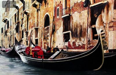 "GONDOLA IN VENICE 48X72 "" ORIGINAL OIL PAINTING MUSEUM QUALITY – image 1"
