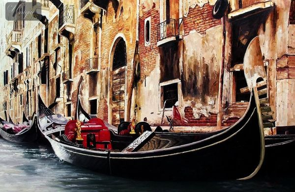 "GONDOLA IN VENICE 48X72 "" ORIGINAL OIL PAINTING MUSEUM QUALITY"