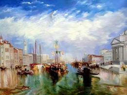 "WILLIAM TURNER - THE GRAND CANAL IN VENICE 36X48 "" OIL PAINTING – image 2"