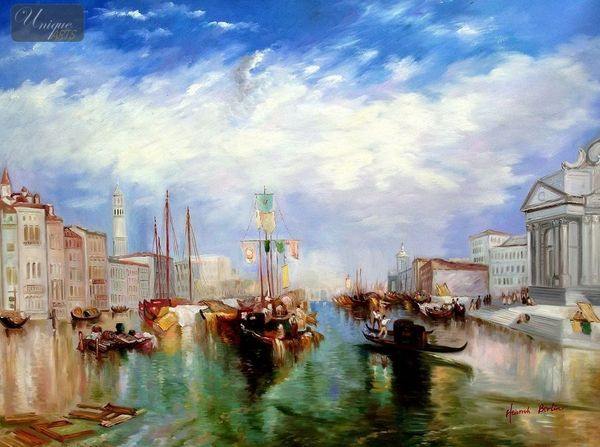 "WILLIAM TURNER - THE GRAND CANAL IN VENICE 36X48 "" OIL PAINTING"