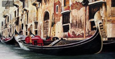 "GONDOLA IN VENICE 24X48 "" ORIGINAL OIL PAINTING – image 1"