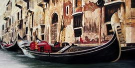 "GONDOLA IN VENICE 24X48 "" ORIGINAL OIL PAINTING – image 2"