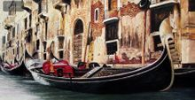 "GONDOLA IN VENICE 24X48 "" ORIGINAL OIL PAINTING 001"