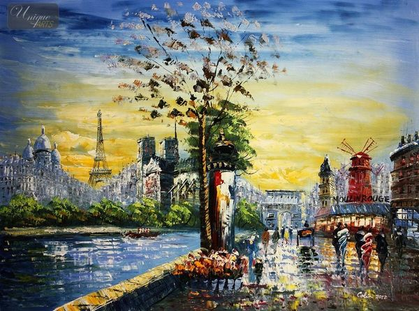 "MODERN ART - COLAGE OF PARIS 36X48 "" ORIGINAL OIL PAINTING"