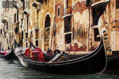 "GONDOLA IN VENICE 24X36 "" ORIGINAL OIL PAINTING – image 1"