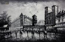 "MODERN ART - MOULIN ROUGE IN PARIS 24X36 "" ORIGINAL OIL PAINTING 001"