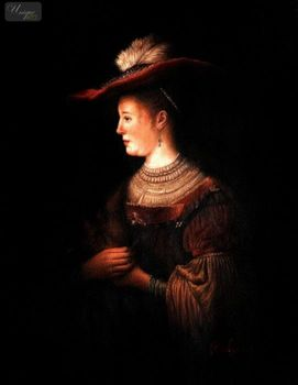 "REMBRANDT - SASKIA IN POMPOUS CLOTHES 12X16 "" OIL PAINTING MUSEUM QUALITY – image 1"