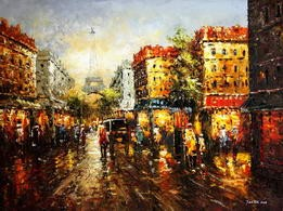 "MODERN ART - STREET SCENE IN PARIS 36X48 "" ORIGINAL OIL PAINTING – image 2"