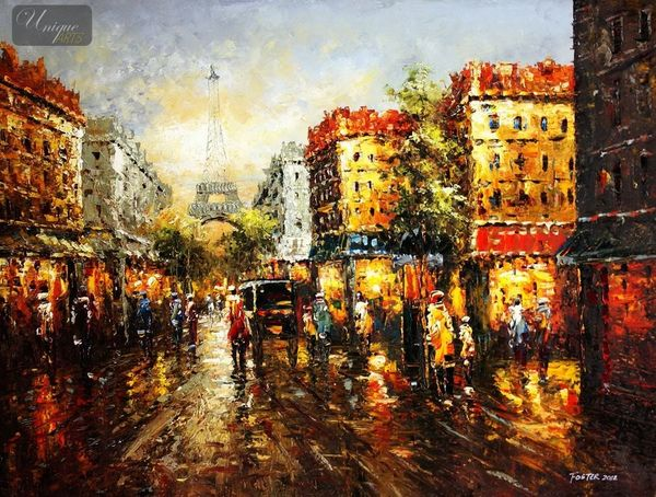 "MODERN ART - STREET SCENE IN PARIS 36X48 "" ORIGINAL OIL PAINTING – image 1"