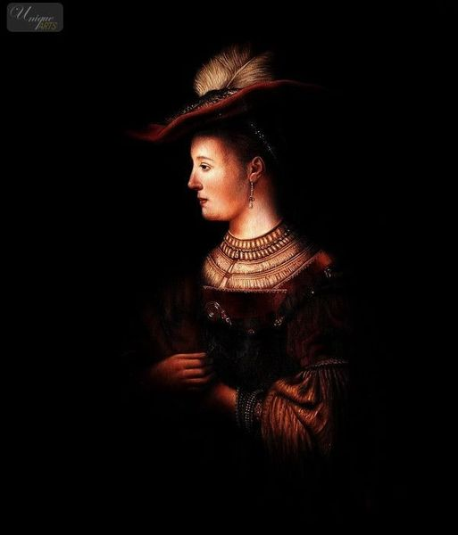 Rembrandt - Saskia In Pompous Clothes 50x60 cm Reproduction Oil Painting Museum Quality