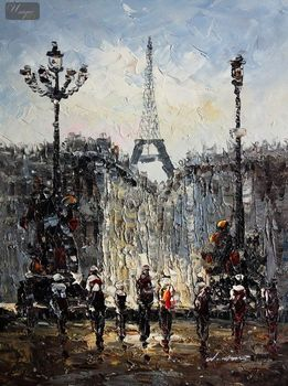 "MODERN ART - STREET SCENE IN PARIS 12X16 "" ORIGINAL OIL PAINTING – image 1"