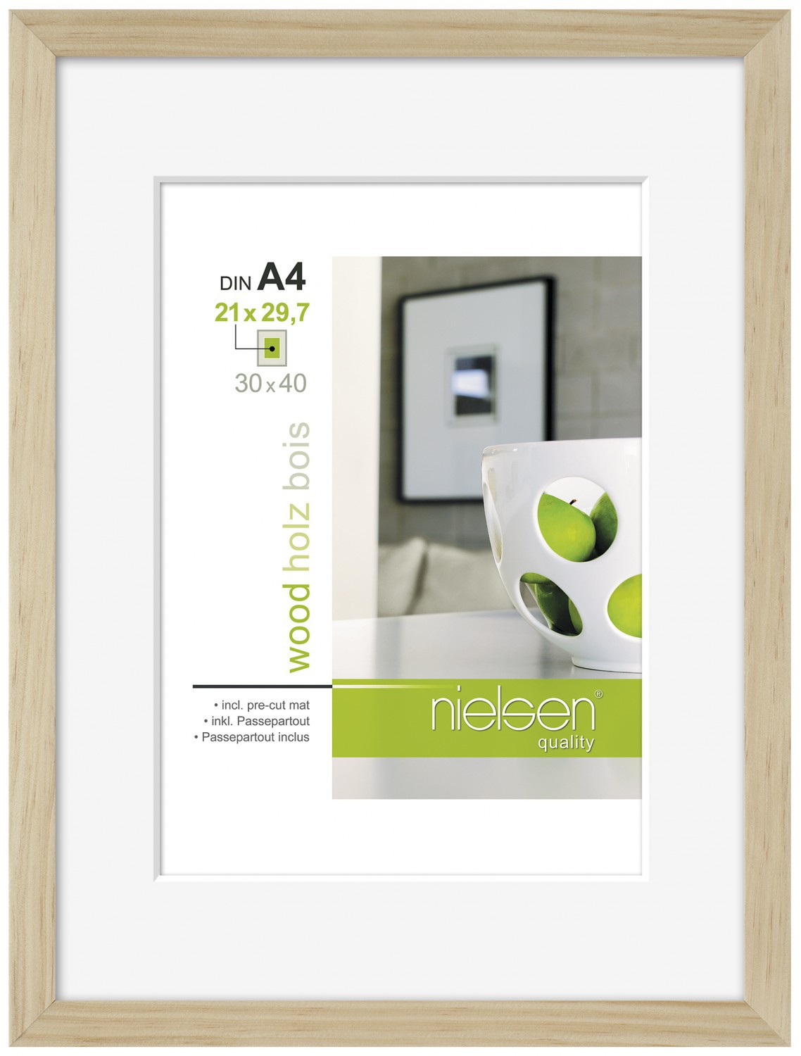 Nielsen Apollo Natural Wood Picture Frame 30x40 cm A4 Mount 43709