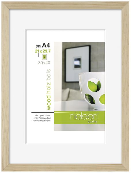 Nielsen Apollo Natural Wood Picture Frame 30x40 cm A4 Mount – image 1