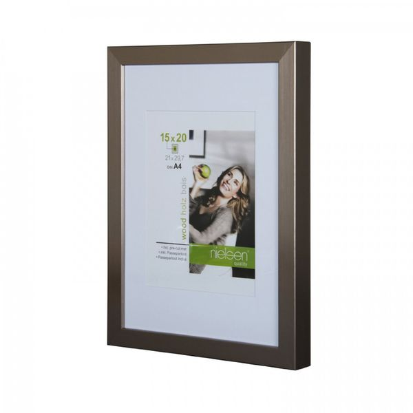 Nielsen Apollo Dark Silver Wood Picture Frame 30x40 cm A4 Mount – image 1
