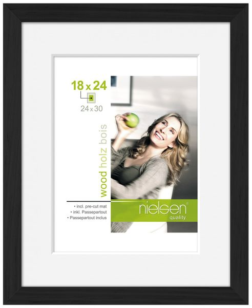 Nielsen Apollo Matt Black Wood Picture Frame 30x40 cm A4 Mount