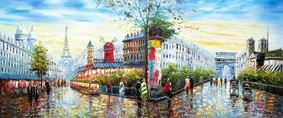 "MODERN ART - PARIS CITY PANORAMA  30X72 "" ORIGINAL OIL PAINTING – image 2"