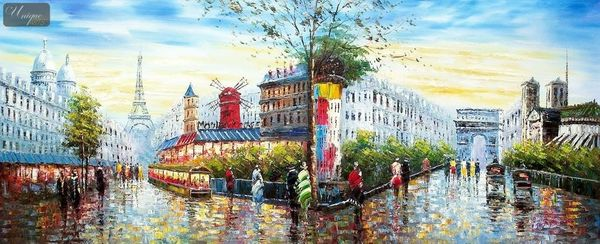 "MODERN ART - PARIS CITY PANORAMA  30X72 "" ORIGINAL OIL PAINTING – image 1"