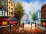 "MODERN ART - PARIS CITY PANORAMA  32X44 "" ORIGINAL OIL PAINTING 001"