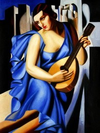 "HOMAGE TO T. DE LEMPICKA - LADY IN BLUE WITH GUITAR  36X48 "" OIL PAINTING – image 2"