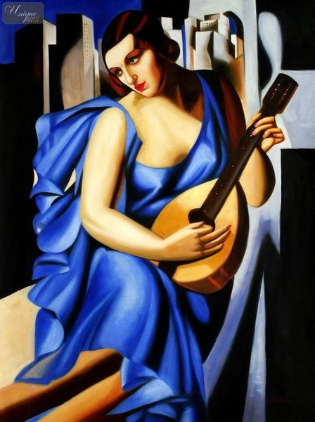 "HOMAGE TO T. DE LEMPICKA - LADY IN BLUE WITH GUITAR  36X48 "" OIL PAINTING – image 1"