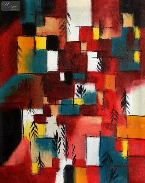 "PAUL KLEE - REDGREEN AND VIOLET-YELLOW RHYTHMS  16X20 "" OIL PAINTING – image 1"