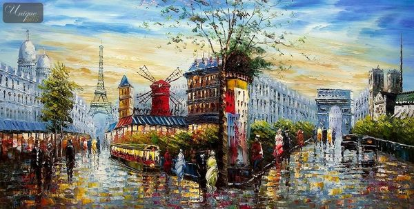 "MODERN ART - PARIS CITY PANORAMA  24X48 "" ORIGINAL OIL PAINTING"