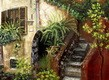 "MEDITERRANEAN IMPRESSIONS - SPANISH HOUSEFRONT WITH FLOWERS  12X16 "" OIL PAINTING – image 2"
