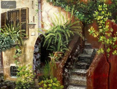 "MEDITERRANEAN IMPRESSIONS - SPANISH HOUSEFRONT WITH FLOWERS  12X16 "" OIL PAINTING – image 1"