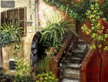 "MEDITERRANEAN IMPRESSIONS - SPANISH HOUSEFRONT WITH FLOWERS  12X16 "" OIL PAINTING 001"