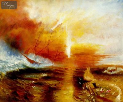 "WILLIAM TURNER - THE SLAVE SHIP  20X24 "" OIL PAINTING REPRODUCTION – image 1"