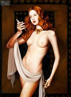 "NUDE ART - STANDING NUDE - LUCRETIA  32X44 "" OIL PAINTING 001"