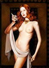 "NUDE ART - STANDING NUDE - LUCRETIA  32X44 "" OIL PAINTING – image 2"