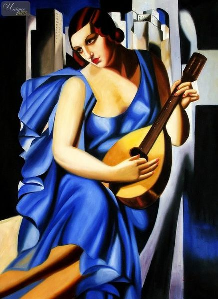 """HOMAGE TO T. DE LEMPICKA - LADY IN BLUE WITH GUITAR  32X44 """" OIL PAINTING"""