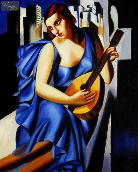 "HOMAGE TO T. DE LEMPICKA - LADY IN BLUE WITH GUITAR  16X20 "" OIL PAINTING"
