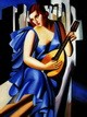 "HOMAGE TO T. DE LEMPICKA - LADY IN BLUE WITH GUITAR  12X16 "" OIL PAINTING – image 2"