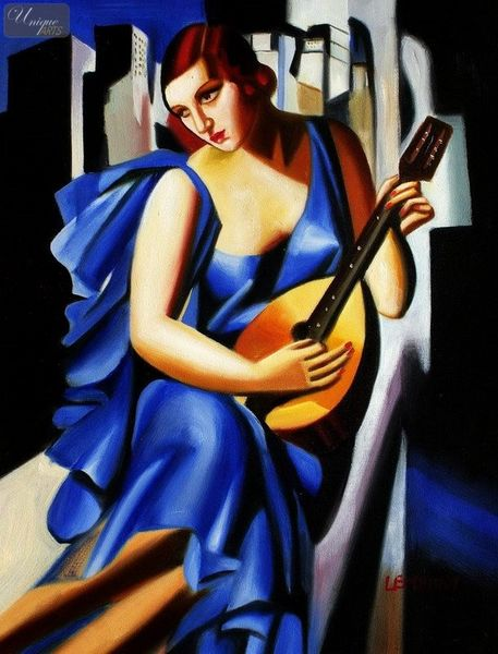 "HOMAGE TO T. DE LEMPICKA - LADY IN BLUE WITH GUITAR  12X16 "" OIL PAINTING"