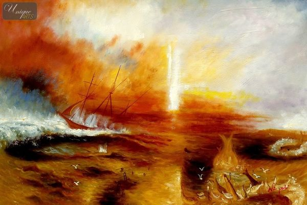 "WILLIAM TURNER - THE SLAVE SHIP  24X36 "" OIL PAINTING REPRODUCTION – image 1"