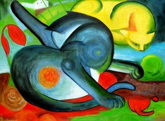 Franz Marc - Two Cats Blue And Yellow  80x110 cm Reproduction Oil Painting