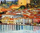 "GUSTAV KLIMT - MALCESINE ON LAKE GARDA  20X24 "" REPRODUCTION OIL PAINTING"