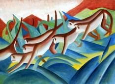 "FRANZ MARC - MONKEY FRIEZE  32X44 "" EXPRESSIONISM REPRODUCTION OIL PAINTING"