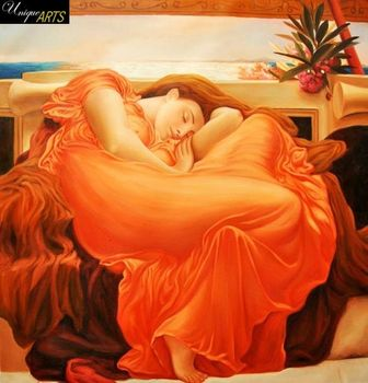 "LORD FREDERICK LEIGHTON - FLAMING JUNE  32X32 "" BRILLIANT OIL PAINTING MUSEUM QUALITY – image 1"