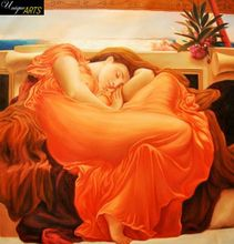 "LORD FREDERICK LEIGHTON - FLAMING JUNE  32X32 "" BRILLIANT OIL PAINTING MUSEUM QUALITY 001"