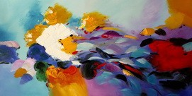"ABSTRACT ART - SPRING TIME 24X48 "" ORIGINAL OIL PAINTING – image 2"