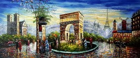 "MODERN ART - COLLAGE OF PARIS  30X72 "" ORIGINAL OIL PAINTING – image 2"