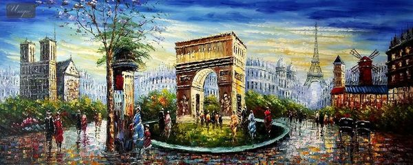 "MODERN ART - COLLAGE OF PARIS  30X72 "" ORIGINAL OIL PAINTING – image 1"
