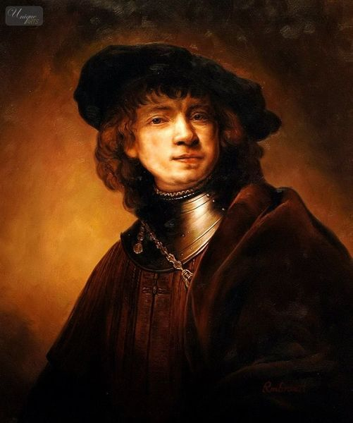 Rembrandt - Self-Portrait As A Young Man  50x60 cm Reproduction Oil Painting Museum Quality – image 1