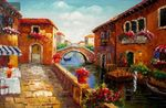 "RESTAURANT BY A CANAL IN VENICE  24X36 "" ORIGINAL OIL PAINTING 001"