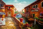 "RESTAURANT BY A CANAL IN VENICE  24X36 "" ORIGINAL OIL PAINTING – image 2"